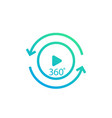 360 degrees video play icon vector image