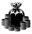 a bag money and coins monochrome vector image