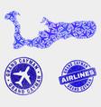 aeroplane collage grand cayman island map vector image vector image