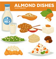 almond nut dishes food drink and dessert vector image vector image