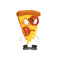 angry slice of pizza funny cartoon fast food vector image vector image