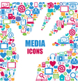 Background with media icons Modern and retro desi vector image vector image