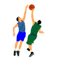 basketball players sport activity hits block vector image