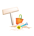 Beach Bucket and Wooden Placard vector image