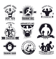 bodybuilding and fitness gym logos and emblems vector image vector image