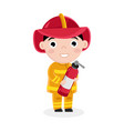 boy in fireman uniform with fire extinguisher vector image vector image