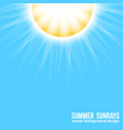 bright sun with sun rays on blue sky background vector image