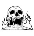 burning skull with classic tribal flames vector image vector image