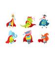 cartoon animals in costumes superheroes vector image