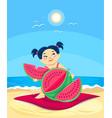 cartoon asian girl eating watermelon on the beach vector image