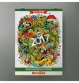 Cartoon doodles 2017 Year poster vector image