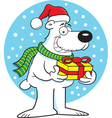 Cartoon polar bear holding a gift vector image