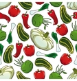 Colorful seamless pattern of fresh vegetables