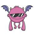 cool sunglasses purple flying cartoon bat monster