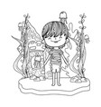 cute little boy undersea with castle vector image