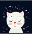 cute little white kitten vector image vector image
