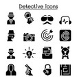 detective icon set graphic design vector image vector image