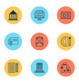 education icons set with backpack school supplies vector image