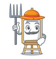 farmer easel character cartoon style vector image
