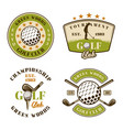 golf club set emblems badges labels vector image
