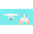 Hands holding drones controller vector image vector image