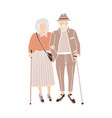 happy couple senior people walking and talking vector image