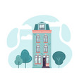 hollandian classic building facade in flat style vector image