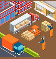 industrial vehicular loading composition vector image vector image