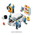 isometric car repair center concept vector image vector image