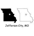 jefferson city missouri mo state border usa map vector image vector image