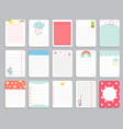 kids notebook page template cards notes vector image vector image