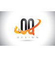 oq o q letter logo with fire flames design and vector image vector image
