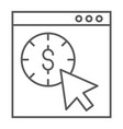 pay per click thin line icon seo and money vector image vector image
