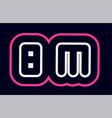 pink white blue alphabet combination letter bm b vector image vector image