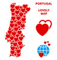 romantic portugal map collage of hearts vector image