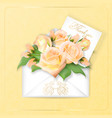 roses with a note in an envelope template vector image vector image