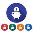 round icon of piggy bank flat style with long vector image vector image