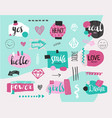 set collage girlish banners tags hand vector image vector image