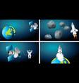 set earth and rocket scenes vector image vector image