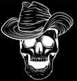 silhouette cowboy skull vector image vector image