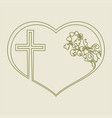 silhouette of heart with ornament and cross vector image