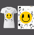 t-shirt design with smiling emoji vector image