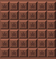 texture of chocolate bar with marijuana leaf vector image