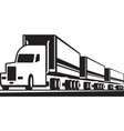 truck train on tre road vector image vector image