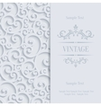 white 3d vintage invitation card vector image vector image