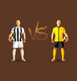 white and yellow soccer players holding vintage vector image vector image