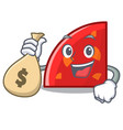 with money bag quadrant character cartoon style vector image vector image