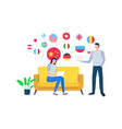 woman and man working from home selling goods vector image vector image