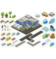 isometric supermarket elements set vector image