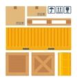 box pallet container wooden crates meta barrel vector image